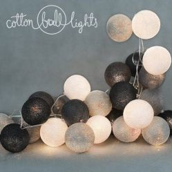 COTTON BALLS LIGHTS - GREY SHADOW
