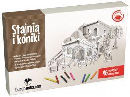 Stajnia i koniki - zabawka z tektury do składania - Burumamba