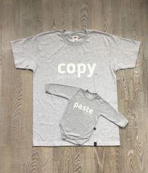 Zestaw Koszulka dla Taty i body dla dziecka z nadrukiem COPY PASTE rozmiar L