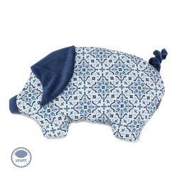 Świnka chudzinka płaska poduszka dla niemowląt. Makaszka. Wzór niebieska rozeta