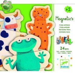 Djeco. Drewniane puzzle magnetyczne - Zwierzątka 2+