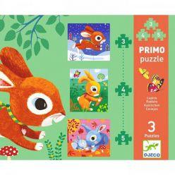 Djeco. Zestaw puzzli (3 plansze) - Króliki 2+