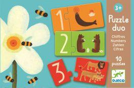 Djeco. Puzzle łączenie liczb i zwierząt. 3+
