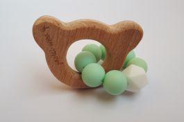 GRYZAK drewniany silikon na ząbkowanie 3M+.Miętowy miś. Zabawka sensoryczna. PASTEL WOOD