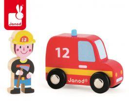 Janod. Wóz strażacki ze strażakiem - zestaw drewniany