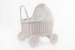 Petit Landau. Wózek Amelie - Biały (Wypełnienie: Błękit)