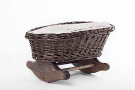 Łóżeczko dla lalek Kołyska szara (Wypełnienie: Krem) Petit Landau