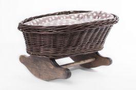 Łóżeczko dla lalek kołyska szara (Wypełnienie: Groch) Petit Landau.