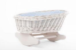 Łóżeczko dla lalek Kołyska biała (Wypełnienie: Błękit) Petit Landau
