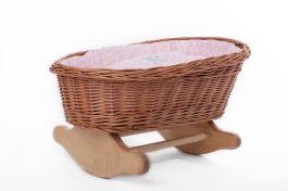 Łóżeczko dla lalek Kołyska naturalna (Wypełnienie: Róż) Petit Landau