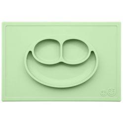EZPZ Silikonowy talerzyk z podkładką 2w1 Happy Mat (Kolor: pastelowa zieleń)