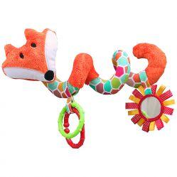 Lisek pomarańczowa grzechotka spirala z lusterkiem do zawieszenia do wózka / łóżeczka. Mom's Care