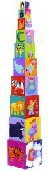 Piramida Kostki Pudełka do Układania Zwierzęta i Dzieci DJECO 1+