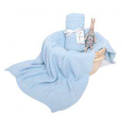 Kocyk bawełniany S CottonClassic 75x90cm Mgła (błękitny) Colorstories