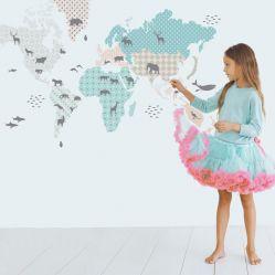 Naklejka na ścianę Mapa świata pastelowa Dekornik