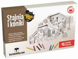 Stajnia i koniki - zabawka z tektury do składania - Burubamba