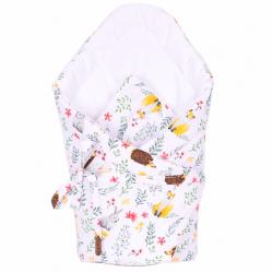 Rożek Becik dla niemowlaka 75x75 wiązany na troczki 100% bawełna  Leśne Zwierzęta