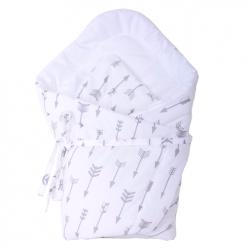 Rożek Becik dla niemowlaka 75x75 wiązany na troczki 100% bawełna Szare strzałki