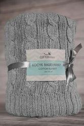 Ekskluzywny kocyk bawełniany SCANDI splot warkocza ciemnoszary