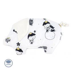 Świnka chudzinka płaska poduszka dla niemowląt. Makaszka. Wzór mały książę