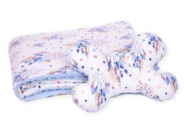 Zestaw do wózka Kocyk 100x75 + poduszka antywstrząsowa MOTYLEK Łapacze snów blue minky 100% bawełna