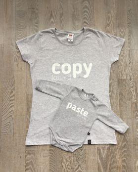 Zestaw Koszulka dla Mamy i body dla dziecka z nadrukiem COPY PASTE rozmiar L