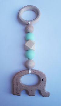 Zawieszka edukacyjna GRYZAK drewniany silikon na ząbkowanie 3M+. Zabawka sensoryczna. Miętowy słonik. PASTEL WOOD