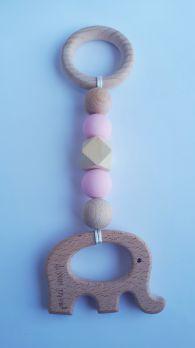 Zawieszka edukacyjna GRYZAK drewniany silikon na ząbkowanie 3M+. Zabawka sensoryczna. Różowy słonik. PASTEL WOOD