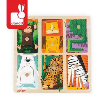 """Janod. Puzzle sensoryczne drewniane """"Zwierzątka w ZOO"""""""