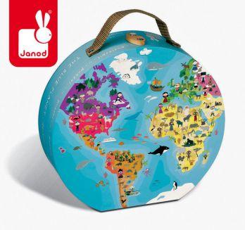 """Janod. Puzzle dwustronne w walizce """"Błękitna planeta"""" 6+"""