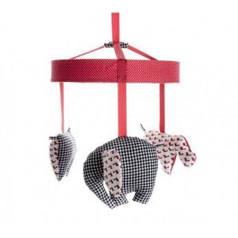 Karuzela nad łóżko - Sawanna czerwono-biało-czarna