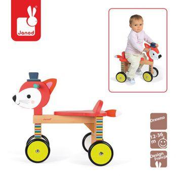 Janod. Czterokołowy rowerek Baby Forest - Lisek