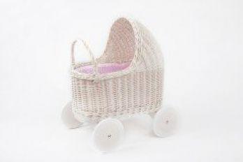 Petit Landau. Wózek Amelie - Biały (Wypełnienie: Róż)
