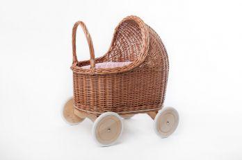 Petit Landau. Wózek Amelie - Naturalny (Wypełnienie: Róż)