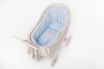 Petit Landau. Wózek Colette - Biały (Wypełnienie: Błękit)