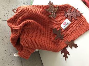 Kocyk dziany BAWEŁNIANY jarzębinowy czerwony Koc Bawełna 100x80. LE PAMPUCH