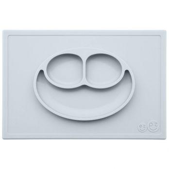 EZPZ Silikonowy talerzyk z podkładką 2w1 Happy Mat (kolor: pastelowa szarość)