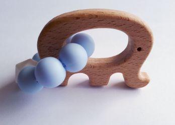 GRYZAK drewniany silikon na ząbkowanie 3M+. Niebieski słonik. Zabawka sensoryczna. PASTEL WOOD