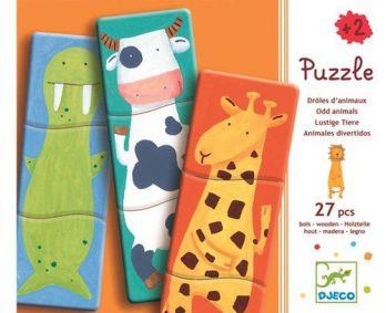 Puzzle drewniane 9 części ZWIERZAKI DJECO 18+