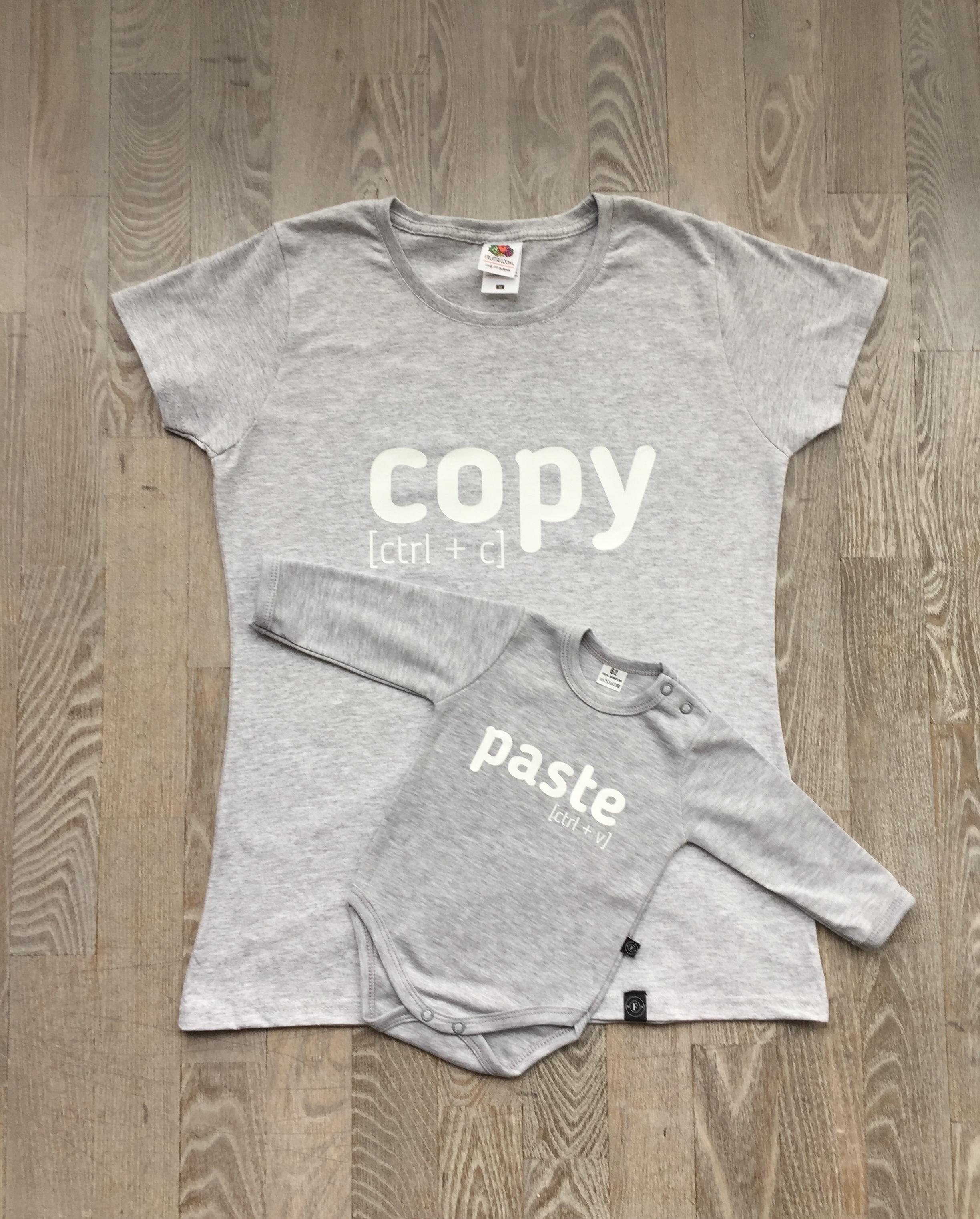 4945b87c Zestaw Koszulka dla Mamy i body dla dziecka z nadrukiem COPY PASTE rozmiar L
